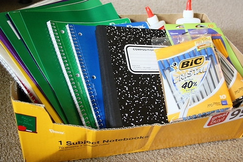 school supplies in box