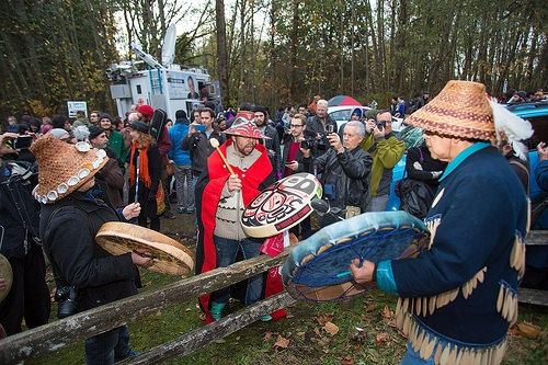 Rally against Kinder Morgan oil pipeline on Burnaby Mountain