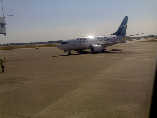 Shiny WestJet After Landing