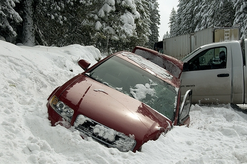 Pushed into a snow bank