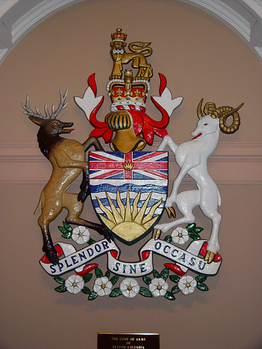 BC's Official Coat of Arms, in the BC Legislature