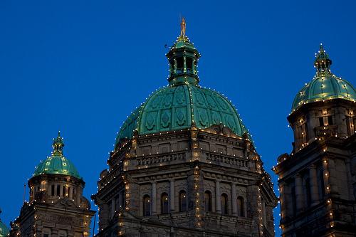 BC Parliament Buildings at Dusk