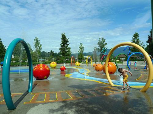 Spray park at Rocky Point Park