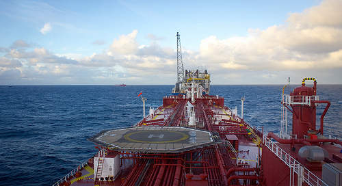 Oil tanker approaching FPSO