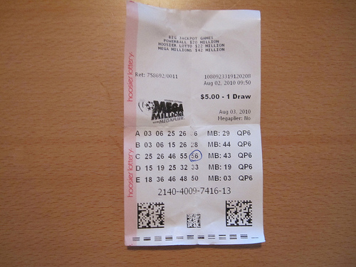 Indiana Mega Millions Lottery Ticket