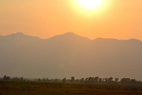 Wildfire Hazed Mountains