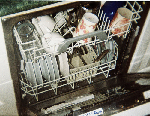 Inside a dish washer