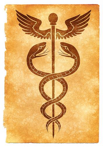 Caduceus Grunge Symbol - Sepia