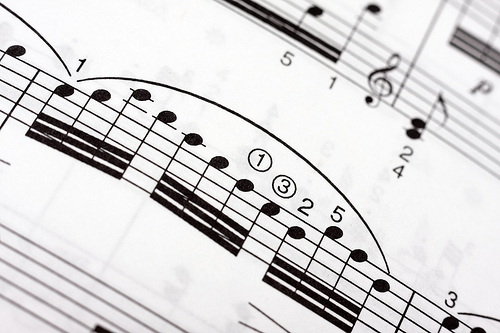 Fast musical notes on a music sheet