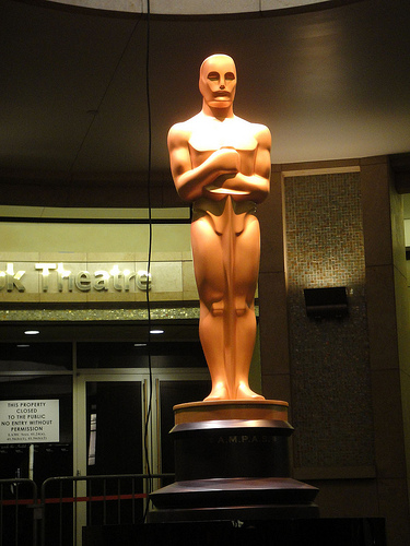 Preparing for the 83rd Annual Academy Awards - the giant Oscar statue at the Kodak Theater entrance