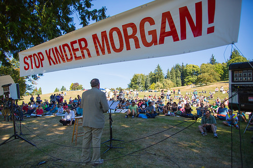 Burnaby Mayor Derek Corrigan addresses the crowd.